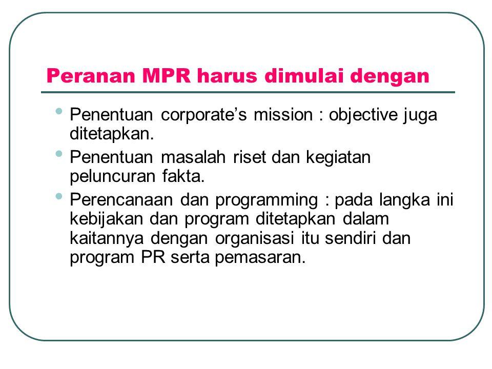 Peranan MPR harus dimulai dengan • Penentuan corporate's mission : objective juga ditetapkan.