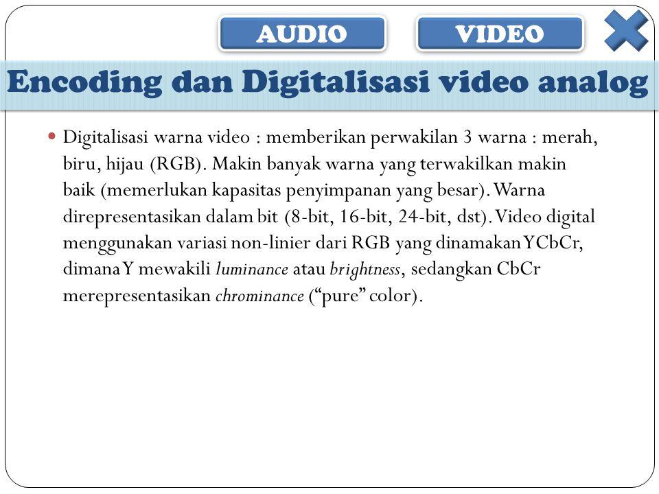 AUDIO VIDEO Encoding dan Digitalisasi video analog  Digitalisasi warna video : memberikan perwakilan 3 warna : merah, biru, hijau (RGB). Makin banyak