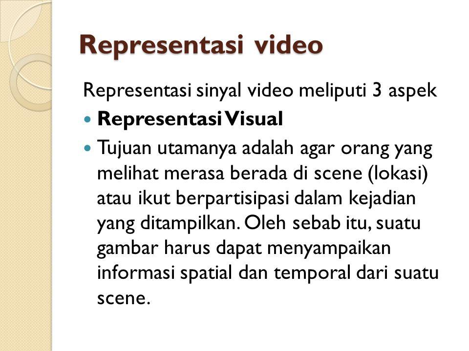 Representasi video Representasi sinyal video meliputi 3 aspek  Representasi Visual  Tujuan utamanya adalah agar orang yang melihat merasa berada di
