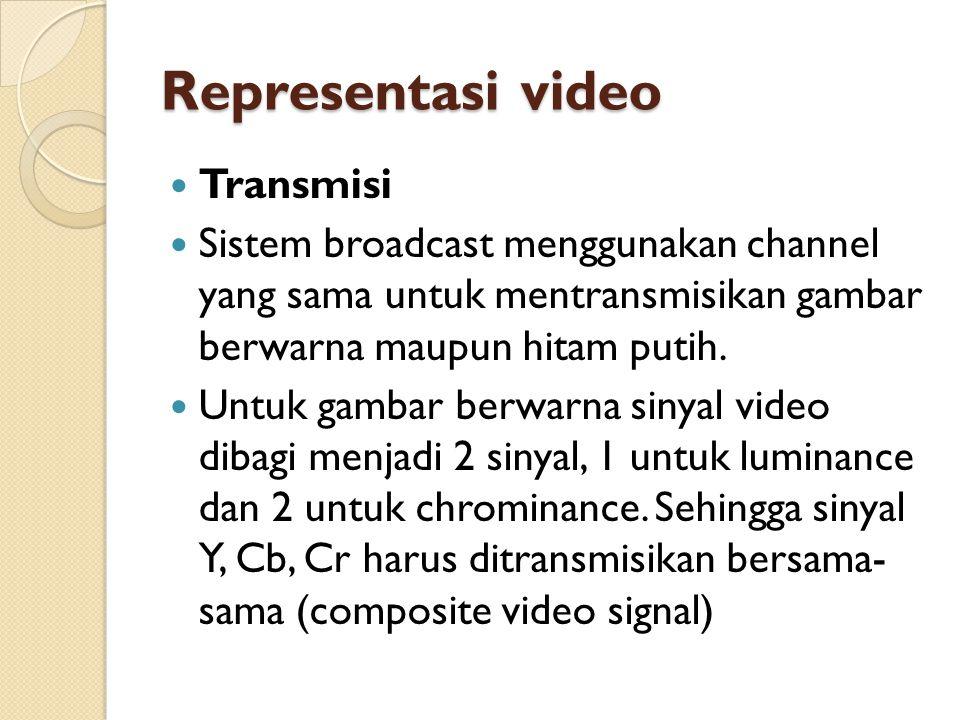 Representasi video  Transmisi  Sistem broadcast menggunakan channel yang sama untuk mentransmisikan gambar berwarna maupun hitam putih.  Untuk gamb