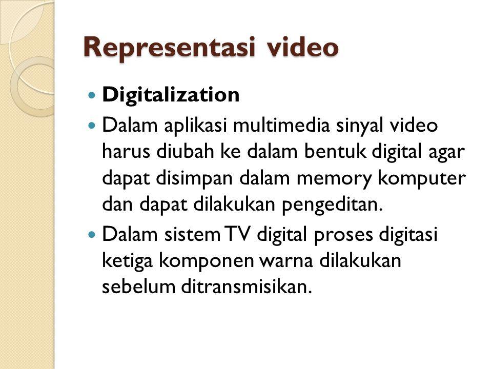 Representasi video  Digitalization  Dalam aplikasi multimedia sinyal video harus diubah ke dalam bentuk digital agar dapat disimpan dalam memory kom