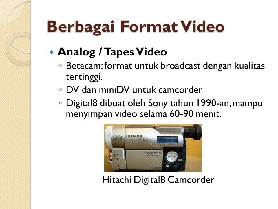 Berbagai Format Video  Analog / Tapes Video ◦ Betacam: format untuk broadcast dengan kualitas tertinggi. ◦ DV dan miniDV untuk camcorder ◦ Digital8 d