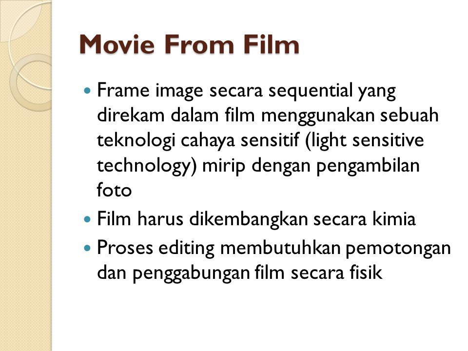 Movie From Film  Frame image secara sequential yang direkam dalam film menggunakan sebuah teknologi cahaya sensitif (light sensitive technology) miri