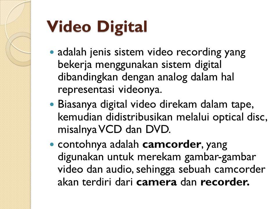 Video Digital  adalah jenis sistem video recording yang bekerja menggunakan sistem digital dibandingkan dengan analog dalam hal representasi videonya