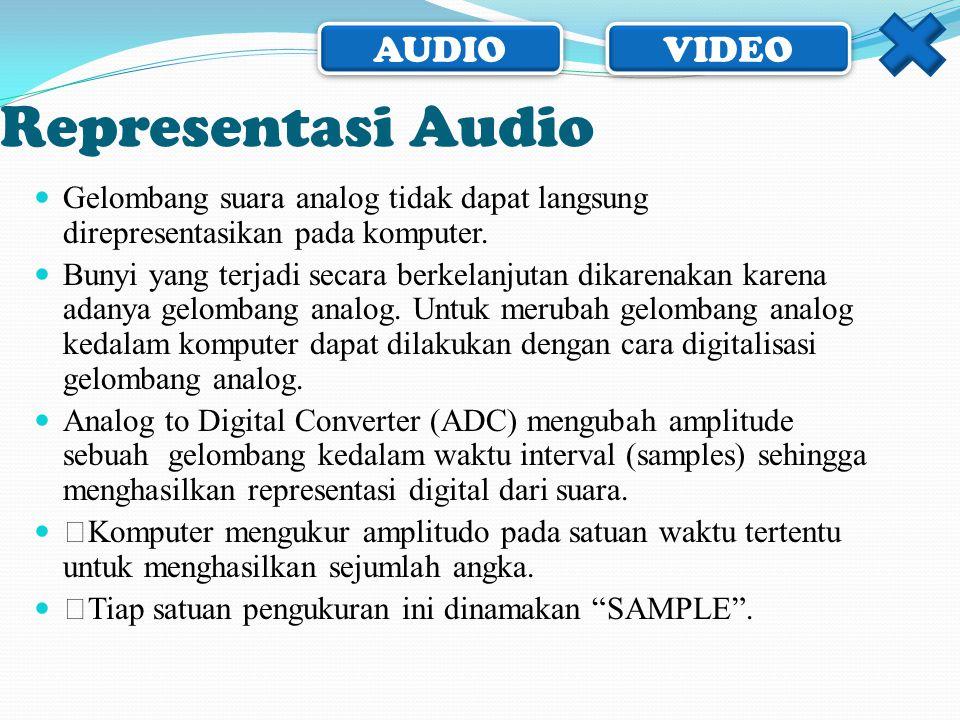 AUDIO VIDEO Representasi Audio  Gelombang suara analog tidak dapat langsung direpresentasikan pada komputer.  Bunyi yang terjadi secara berkelanjuta