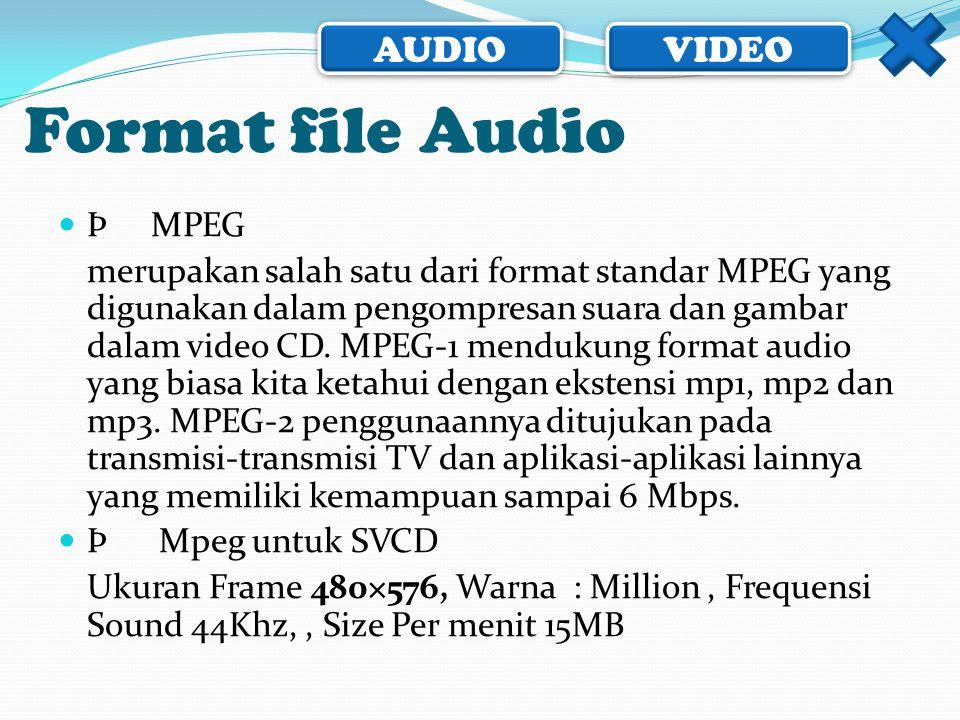 AUDIO VIDEO  Þ MPEG merupakan salah satu dari format standar MPEG yang digunakan dalam pengompresan suara dan gambar dalam video CD. MPEG-1 mendukung