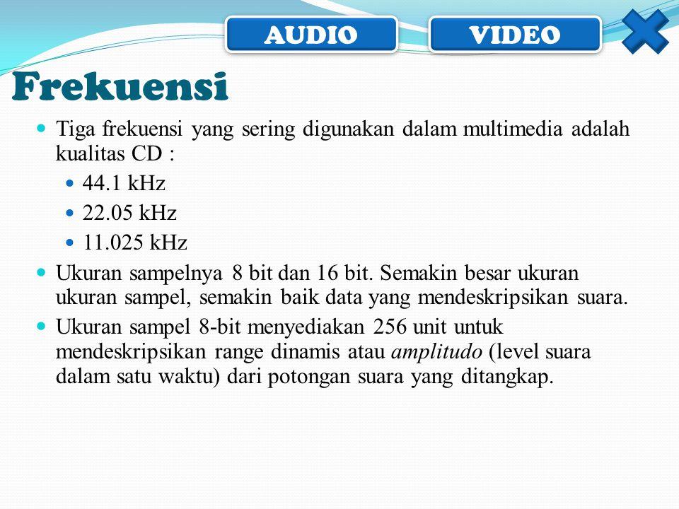 AUDIO VIDEO Frekuensi  Tiga frekuensi yang sering digunakan dalam multimedia adalah kualitas CD :  44.1 kHz  22.05 kHz  11.025 kHz  Ukuran sampel