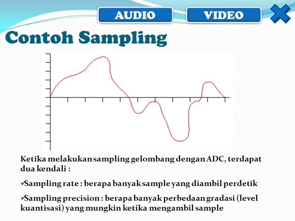 AUDIO VIDEO Contoh Sampling Ketika melakukan sampling gelombang dengan ADC, terdapat dua kendali :  Sampling rate : berapa banyak sample yang diambil