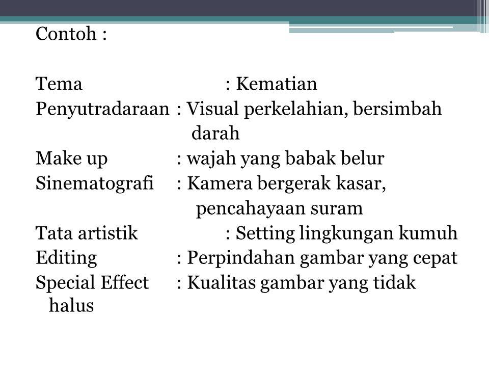 Contoh : Tema: Kematian Penyutradaraan: Visual perkelahian, bersimbah darah Make up: wajah yang babak belur Sinematografi: Kamera bergerak kasar, penc
