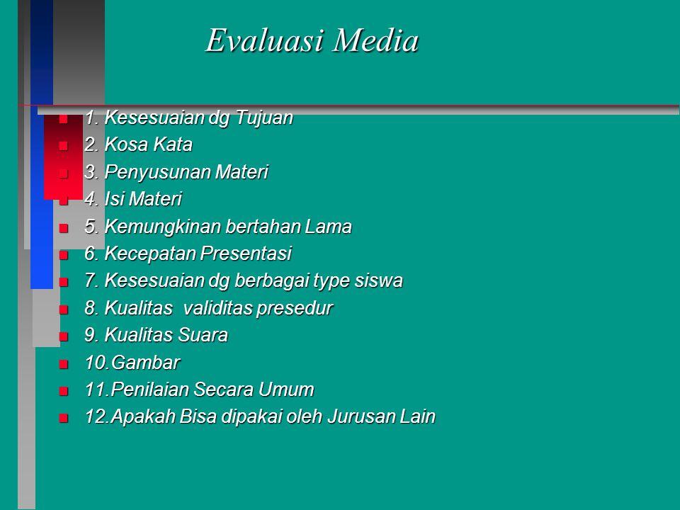 Evaluasi Media n 1. Kesesuaian dg Tujuan n 2. Kosa Kata n 3. Penyusunan Materi n 4. Isi Materi n 5. Kemungkinan bertahan Lama n 6. Kecepatan Presentas