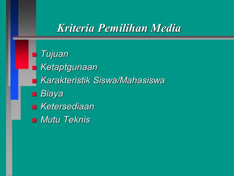 Kriteria Pemilihan Media n Tujuan n Ketaptgunaan n Karakteristik Siswa/Mahasiswa n Biaya n Ketersediaan n Mutu Teknis