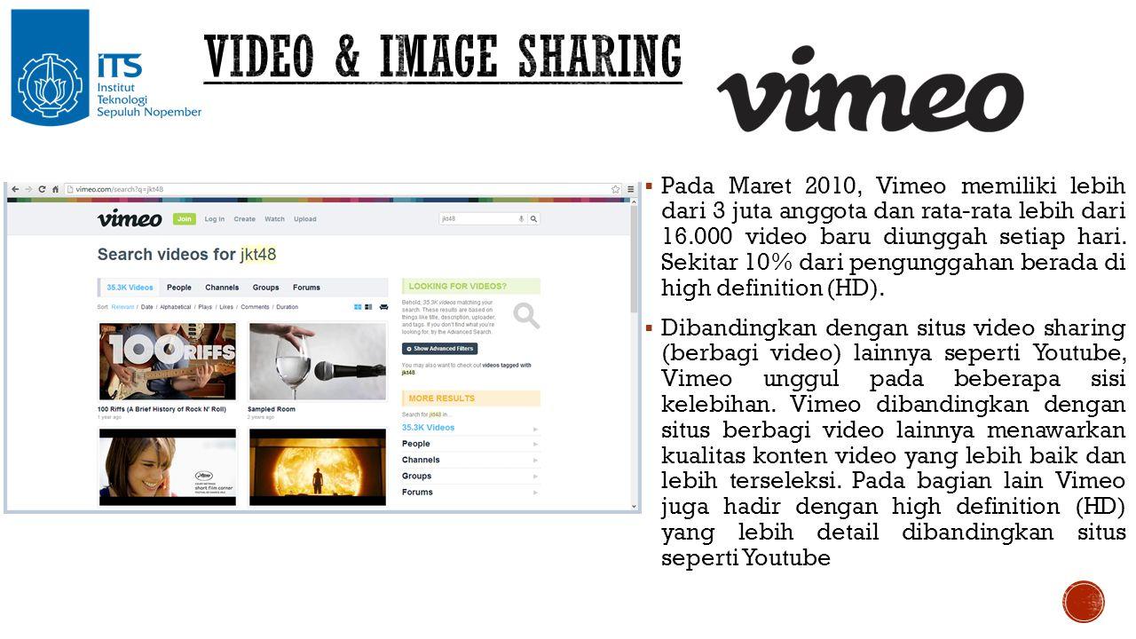  Pada Maret 2010, Vimeo memiliki lebih dari 3 juta anggota dan rata-rata lebih dari 16.000 video baru diunggah setiap hari. Sekitar 10% dari pengungg