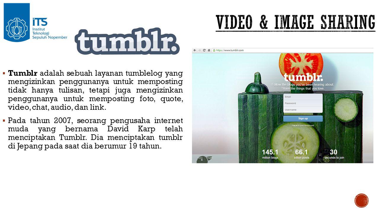  Tumblr adalah sebuah layanan tumblelog yang mengizinkan penggunanya untuk memposting tidak hanya tulisan, tetapi juga mengizinkan penggunanya untuk