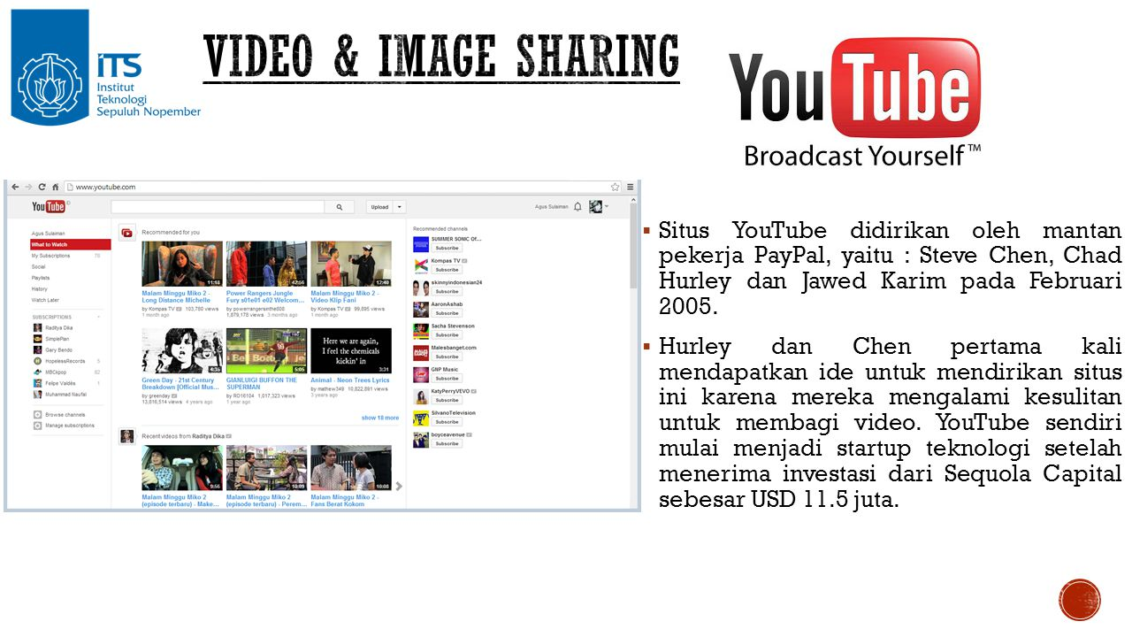  Situs YouTube didirikan oleh mantan pekerja PayPal, yaitu : Steve Chen, Chad Hurley dan Jawed Karim pada Februari 2005.  Hurley dan Chen pertama ka