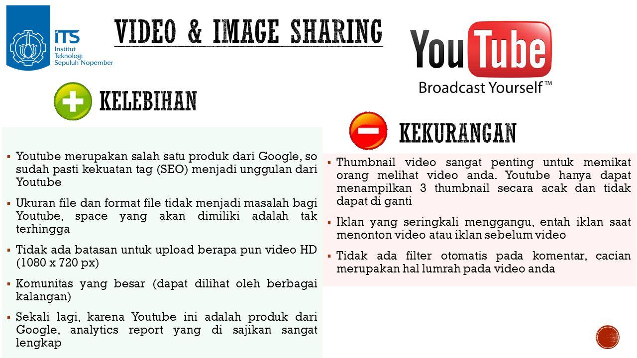  Youtube merupakan salah satu produk dari Google, so sudah pasti kekuatan tag (SEO) menjadi unggulan dari Youtube  Ukuran file dan format file tidak