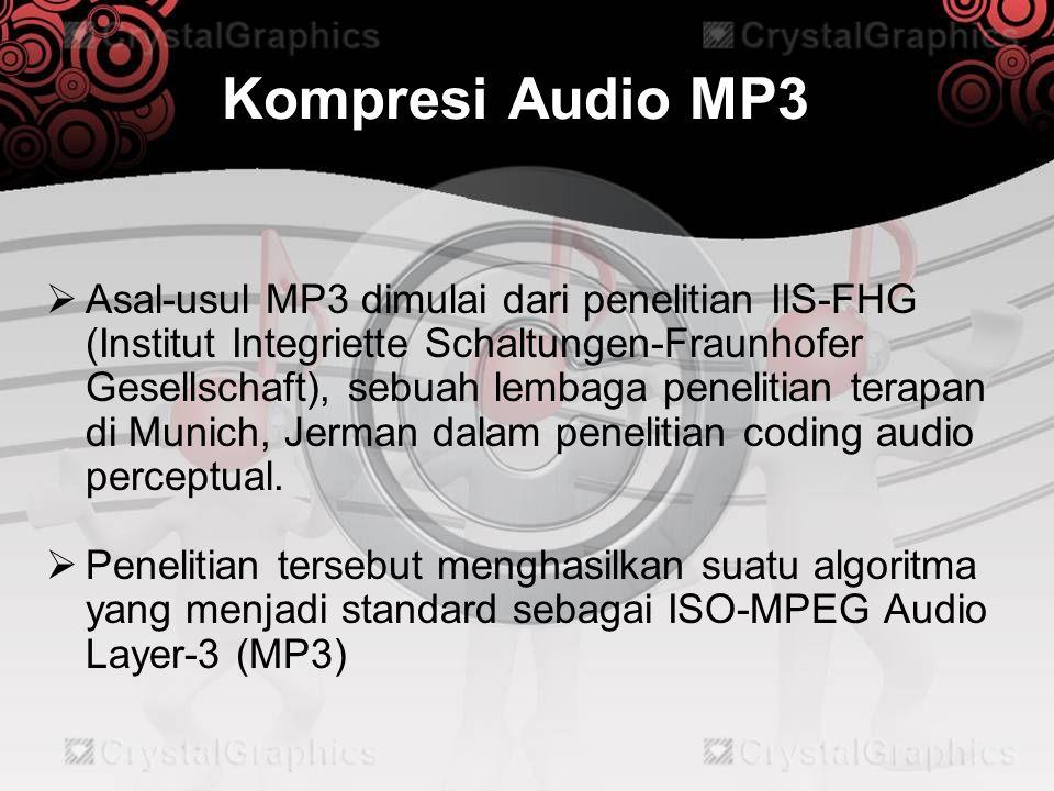 Kompresi Audio MP3  Asal-usul MP3 dimulai dari penelitian IIS-FHG (Institut Integriette Schaltungen-Fraunhofer Gesellschaft), sebuah lembaga peneliti