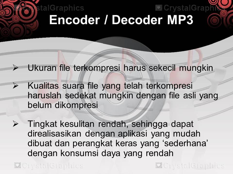 Encoder / Decoder MP3  Ukuran file terkompresi harus sekecil mungkin  Kualitas suara file yang telah terkompresi haruslah sedekat mungkin dengan fil