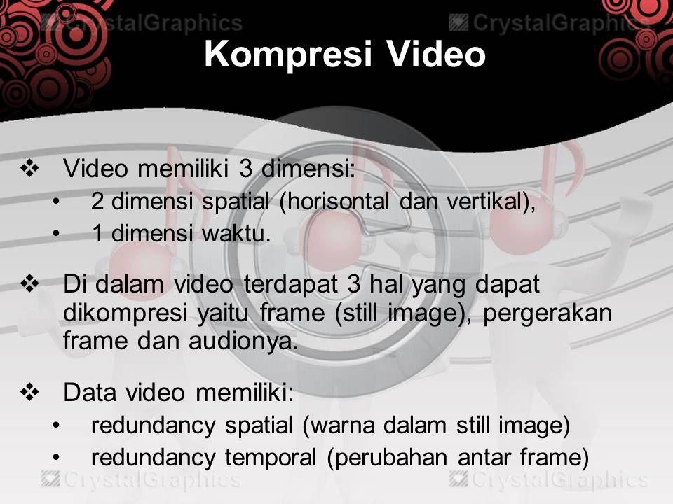 Kompresi Video  Video memiliki 3 dimensi: •2 dimensi spatial (horisontal dan vertikal), •1 dimensi waktu.  Di dalam video terdapat 3 hal yang dapat