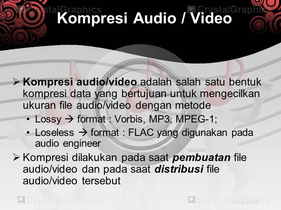 Kompresi Audio / Video  Kendala pada kompresi audio:  Perkembangan sound recording yang cepat dan beranekaragam  Kebutuhan sample audio berubah dengan cepat  Losless audio codec tidak memperhatikan masalah dalam kualitas suara, penggunaannya dapat difokuskan pada: •Kecepatan kompresi dan dekompresi •Faktor kompresi •Dukungan hardware dan software