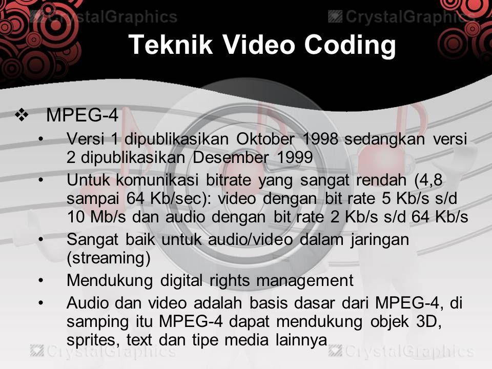 Teknik Video Coding  MPEG-4 •Versi 1 dipublikasikan Oktober 1998 sedangkan versi 2 dipublikasikan Desember 1999 •Untuk komunikasi bitrate yang sangat