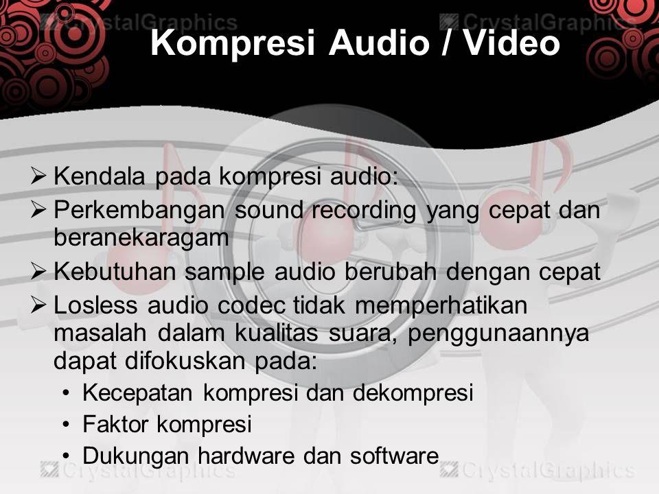 Kompresi Audio / Video  Lossy audio codec penggunaannya difokuskan pada: •Kualitas audio yang dihasilkan •Faktor kompresi •Kecepatan kompresi dan dekompresi •Inherent latency of algorithm (penting bagi real-time streaming) •Dukungan hardware dan software