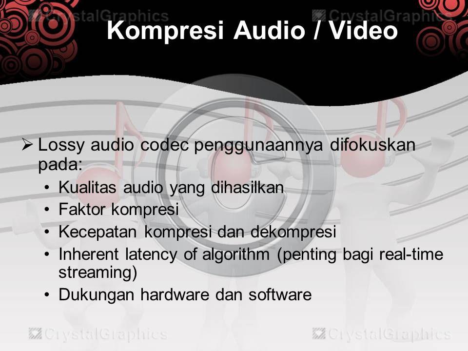 Metode Kompresi Audio  Metode Transformasi (Transform domain) •Menggunakan algoritma seperti MDCT (Modified Discreate Cosine Transform) untuk mengkonversikan gelombang bunyi ke dalam sinyal digital agar tetap dapat didengar oleh manusia (20 Hz s/d 20kHz), yaitu menjadi frekuensi 2 s/d 4kHz dan 96 dB.