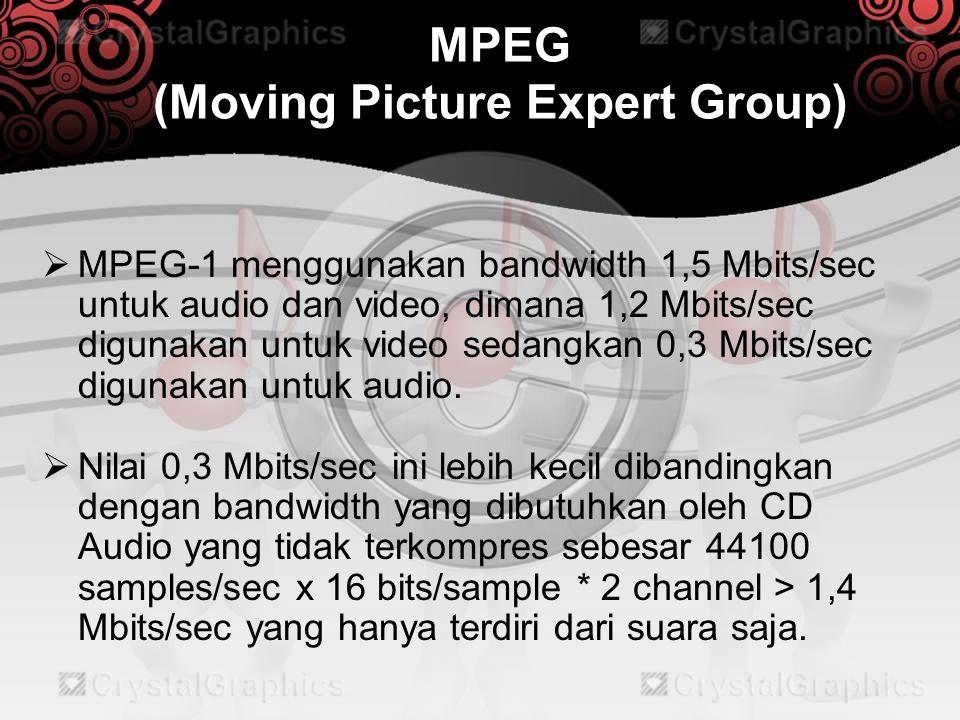 MPEG (Moving Picture Expert Group)  Untuk ratio kompresi 6:1 untuk 16 bit stereo dengan frekuensi 48kHz dan bitrate 256 kbps CBR akan menghasilkan ukuran file terkompresi kira-kira 12.763 KB, sedangkan ukuran file tidak terkompresinya adalah 75.576 KB  MPEG-1 audio mendukung frekuensi dari 8kHz, 11kHz, 12kHz, 16kHz, 22kHz, 24 kHz, 32 kHz, 44kHz, dan 48 kHz.