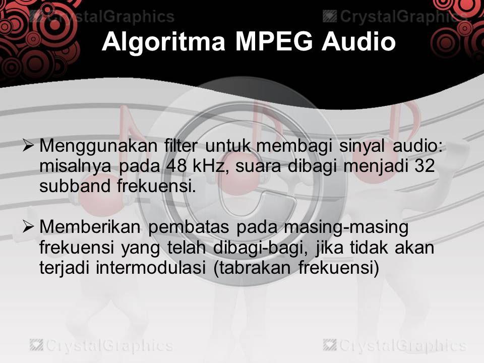 Algoritma MPEG Audio  Jika sinyal suara terlalu rendah, maka tidak dilakukan encode pada sinyal suara tersebut  Diberikan bit parity yang digunakan untuk mengecek apakah data tersebut rusak atau tidak (yang mungkin disebabkan oleh gangguan / noise), apabila rusak, maka bit tersebut akan digantikan bit yang jenisnya sama dengan bit terdekatnya.