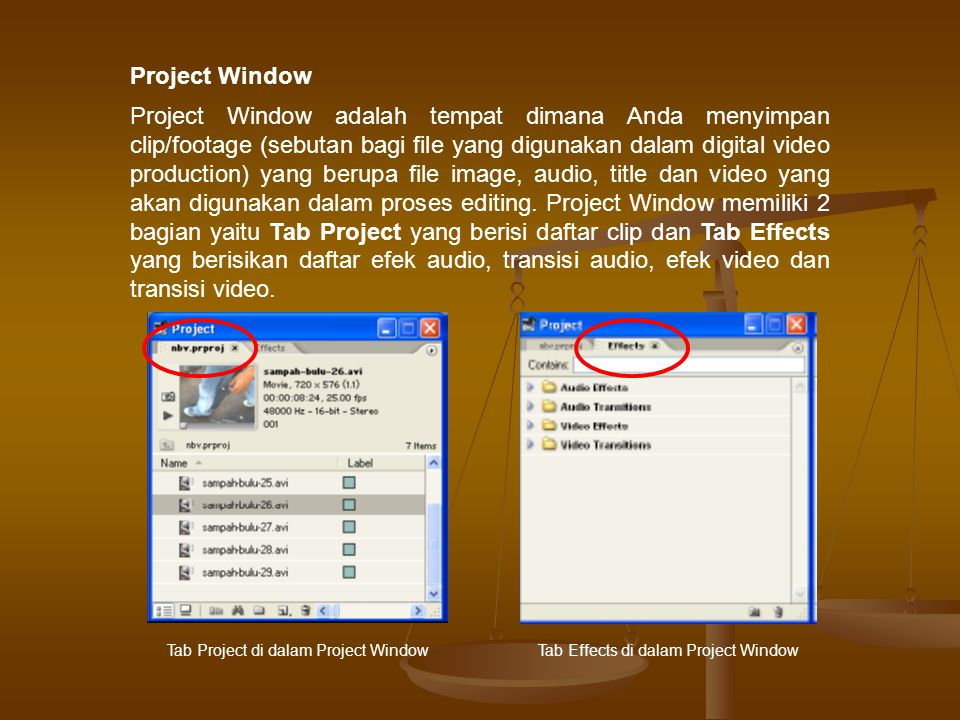 Project Window adalah tempat dimana Anda menyimpan clip/footage (sebutan bagi file yang digunakan dalam digital video production) yang berupa file image, audio, title dan video yang akan digunakan dalam proses editing.