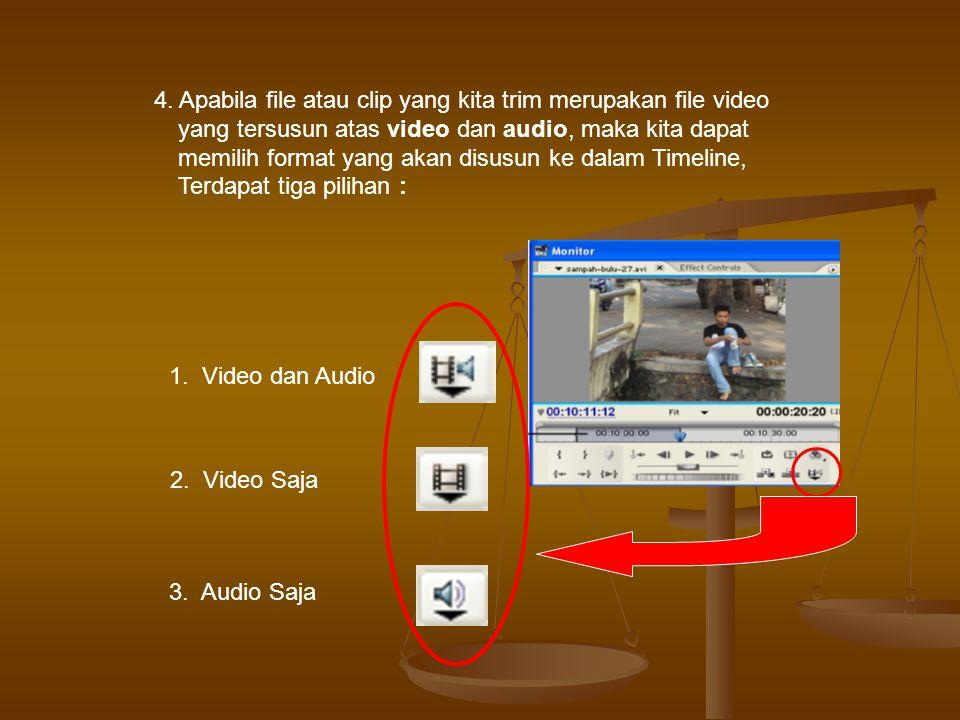 4. Apabila file atau clip yang kita trim merupakan file video yang tersusun atas video dan audio, maka kita dapat memilih format yang akan disusun ke