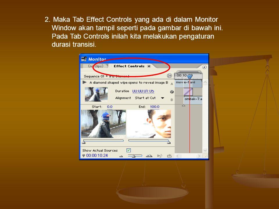 2. Maka Tab Effect Controls yang ada di dalam Monitor Window akan tampil seperti pada gambar di bawah ini. Pada Tab Controls inilah kita melakukan pen