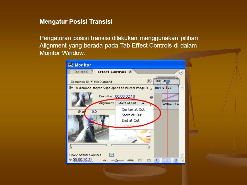 Pengaturan posisi transisi dilakukan menggunakan pilihan Alignment yang berada pada Tab Effect Controls di dalam Monitor Window.