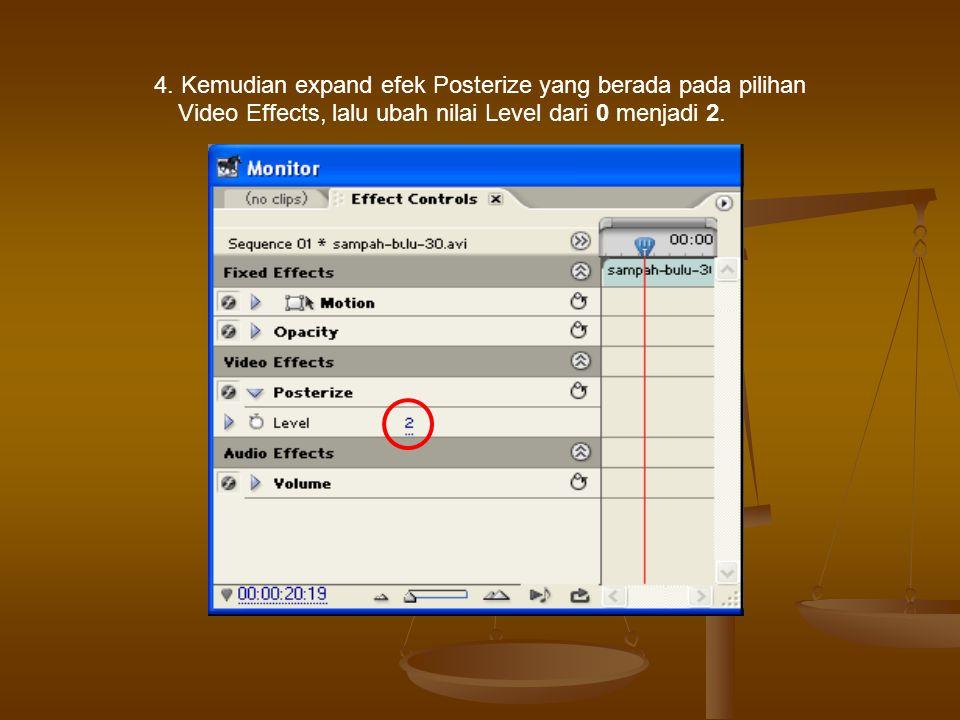 4. Kemudian expand efek Posterize yang berada pada pilihan Video Effects, lalu ubah nilai Level dari 0 menjadi 2.