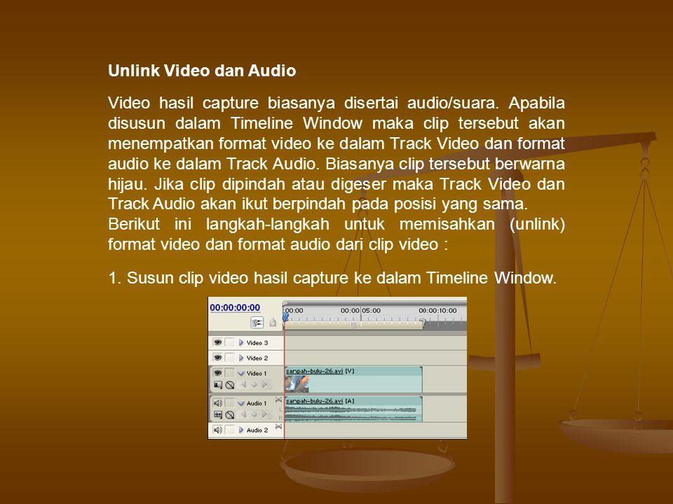 Unlink Video dan Audio Video hasil capture biasanya disertai audio/suara.