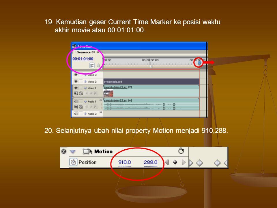 19.Kemudian geser Current Time Marker ke posisi waktu akhir movie atau 00:01:01:00.