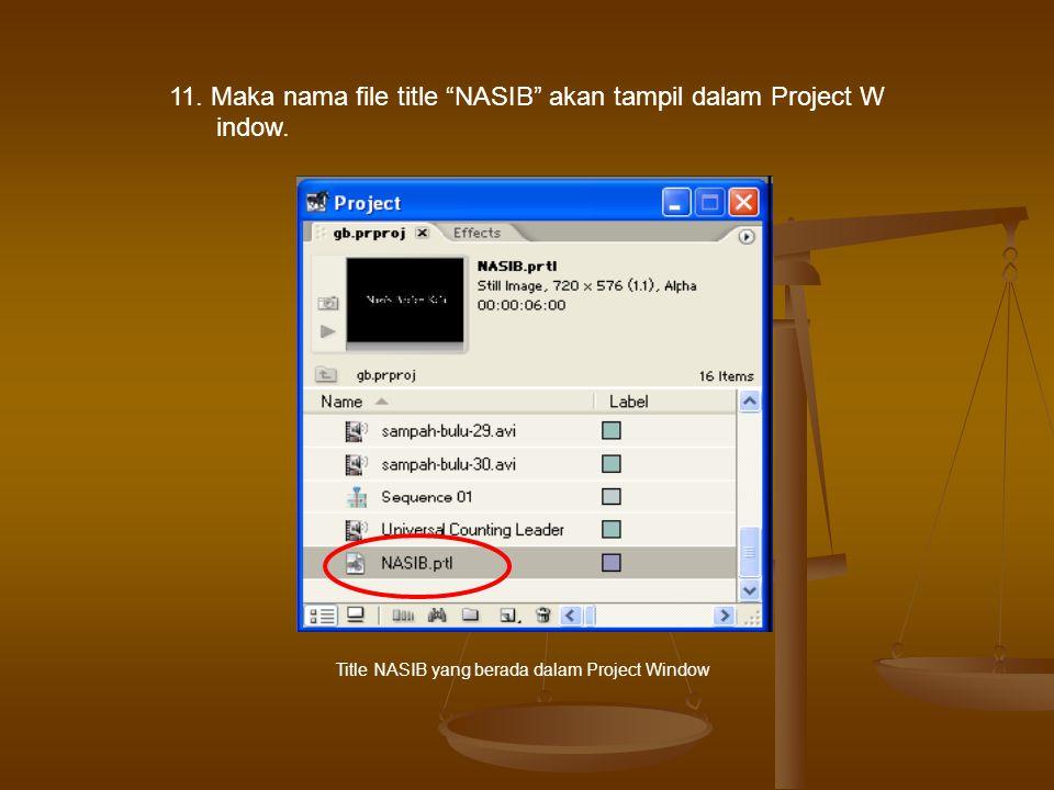 11.Maka nama file title NASIB akan tampil dalam Project W indow.