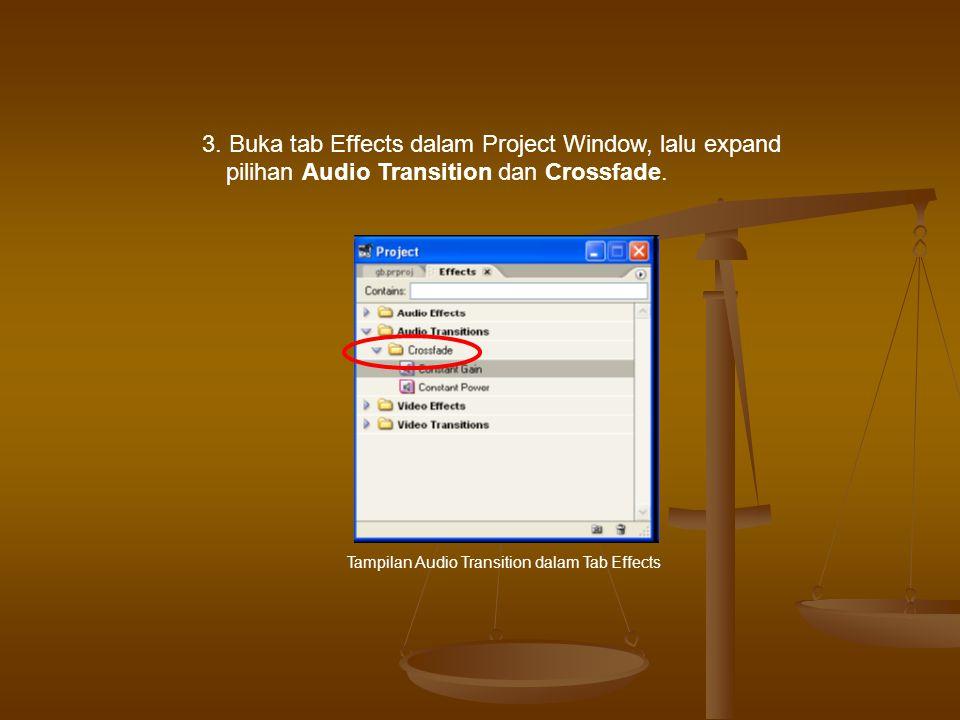 3.Buka tab Effects dalam Project Window, lalu expand pilihan Audio Transition dan Crossfade.