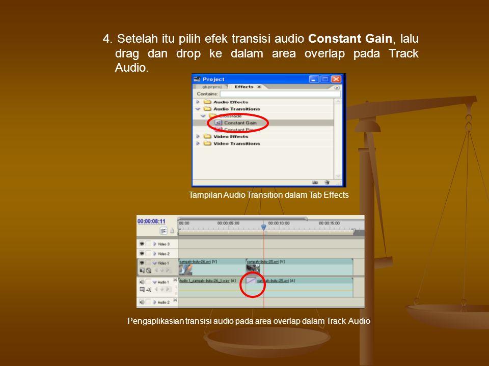 4. Setelah itu pilih efek transisi audio Constant Gain, lalu drag dan drop ke dalam area overlap pada Track Audio. Pengaplikasian transisi audio pada