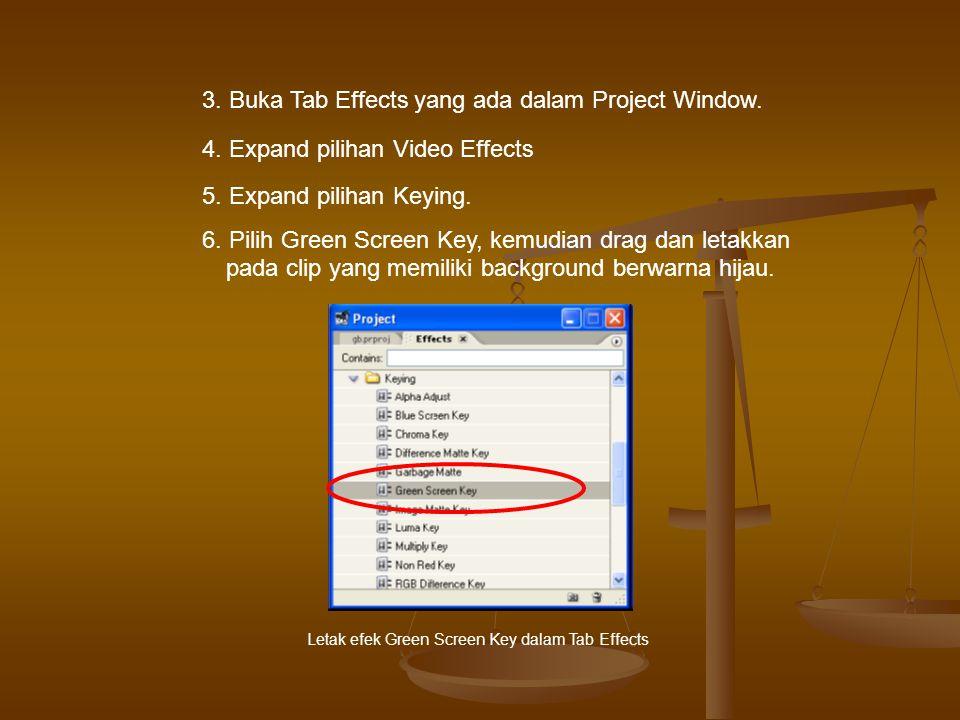 3.Buka Tab Effects yang ada dalam Project Window.