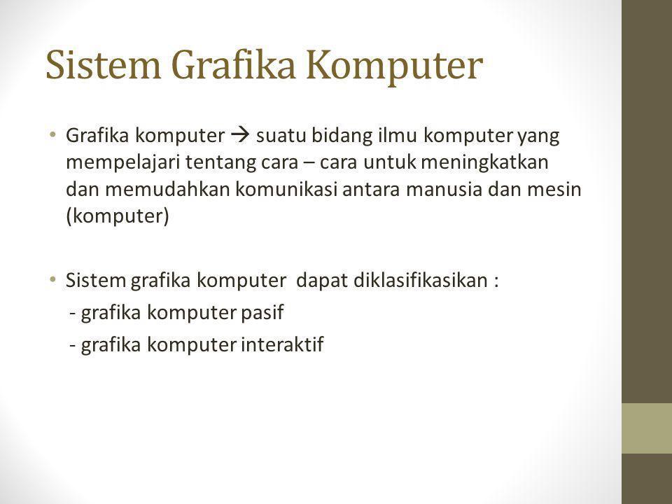 Sistem Grafika Komputer • Grafika komputer  suatu bidang ilmu komputer yang mempelajari tentang cara – cara untuk meningkatkan dan memudahkan komunik