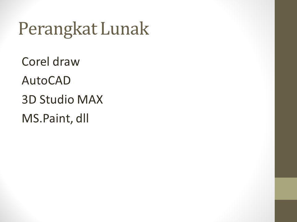 Perangkat Lunak Corel draw AutoCAD 3D Studio MAX MS.Paint, dll