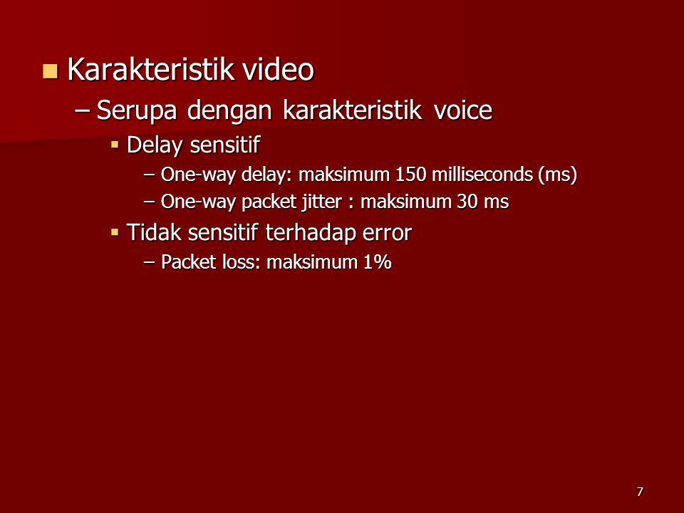 6  Karakteristik data –Tidak sensitif terhadap delay –Sensitif terhadap error  Pengiriman data harus error free  BER transmission maksimum 10 -9 –Contoh informasi data: e-mail, file transfer, web dsb.