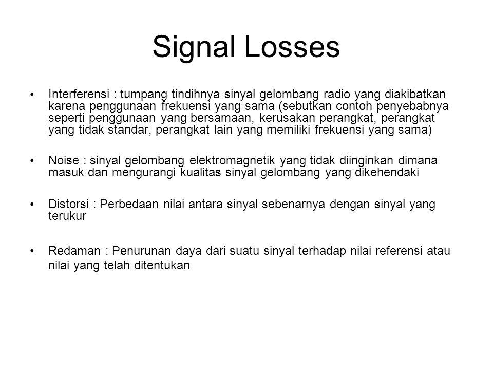 Signal Losses •Interferensi : tumpang tindihnya sinyal gelombang radio yang diakibatkan karena penggunaan frekuensi yang sama (sebutkan contoh penyeba