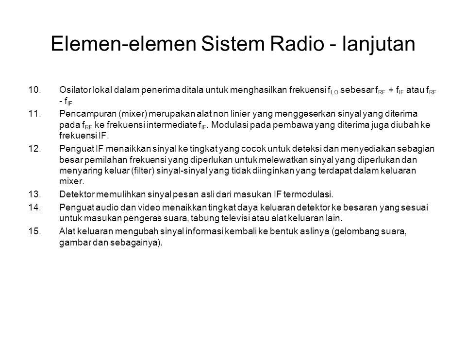 Elemen-elemen Sistem Radio - lanjutan 10.Osilator lokal dalam penerima ditala untuk menghasilkan frekuensi f LO sebesar f RF + f IF atau f RF - f IF 1