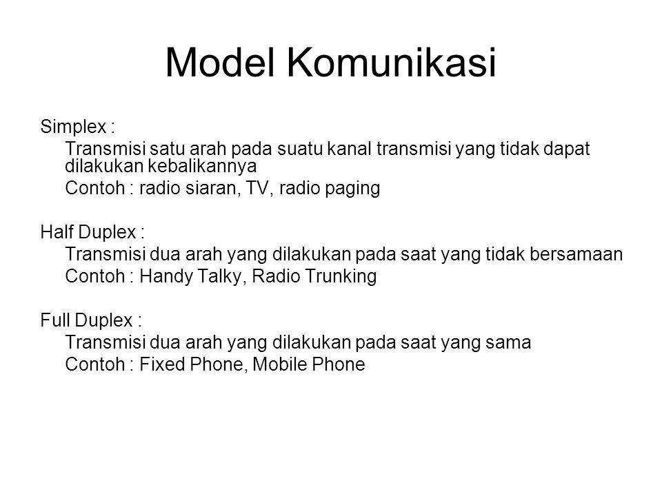 Model Komunikasi Simplex : Transmisi satu arah pada suatu kanal transmisi yang tidak dapat dilakukan kebalikannya Contoh : radio siaran, TV, radio paging Half Duplex : Transmisi dua arah yang dilakukan pada saat yang tidak bersamaan Contoh : Handy Talky, Radio Trunking Full Duplex : Transmisi dua arah yang dilakukan pada saat yang sama Contoh : Fixed Phone, Mobile Phone