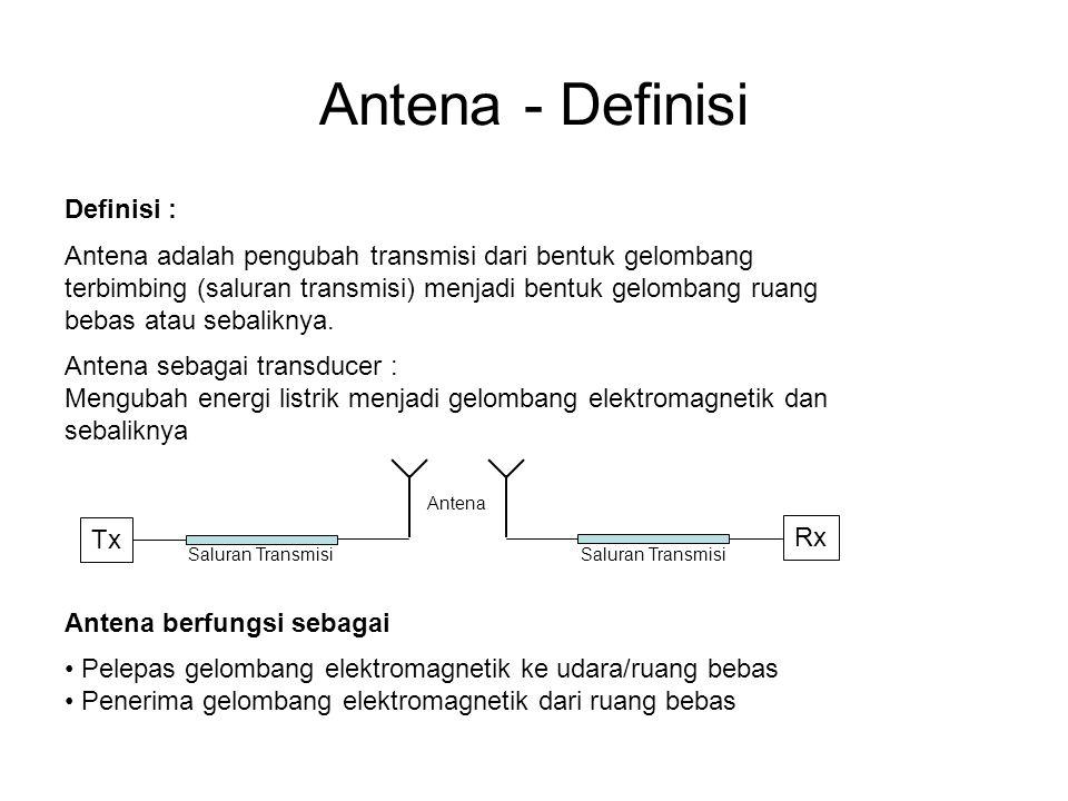 Antena - Definisi Definisi : Antena adalah pengubah transmisi dari bentuk gelombang terbimbing (saluran transmisi) menjadi bentuk gelombang ruang bebas atau sebaliknya.