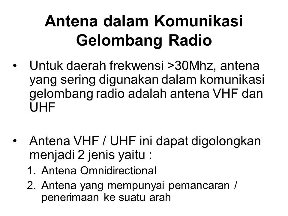 Antena dalam Komunikasi Gelombang Radio •Untuk daerah frekwensi >30Mhz, antena yang sering digunakan dalam komunikasi gelombang radio adalah antena VHF dan UHF •Antena VHF / UHF ini dapat digolongkan menjadi 2 jenis yaitu : 1.Antena Omnidirectional 2.Antena yang mempunyai pemancaran / penerimaan ke suatu arah