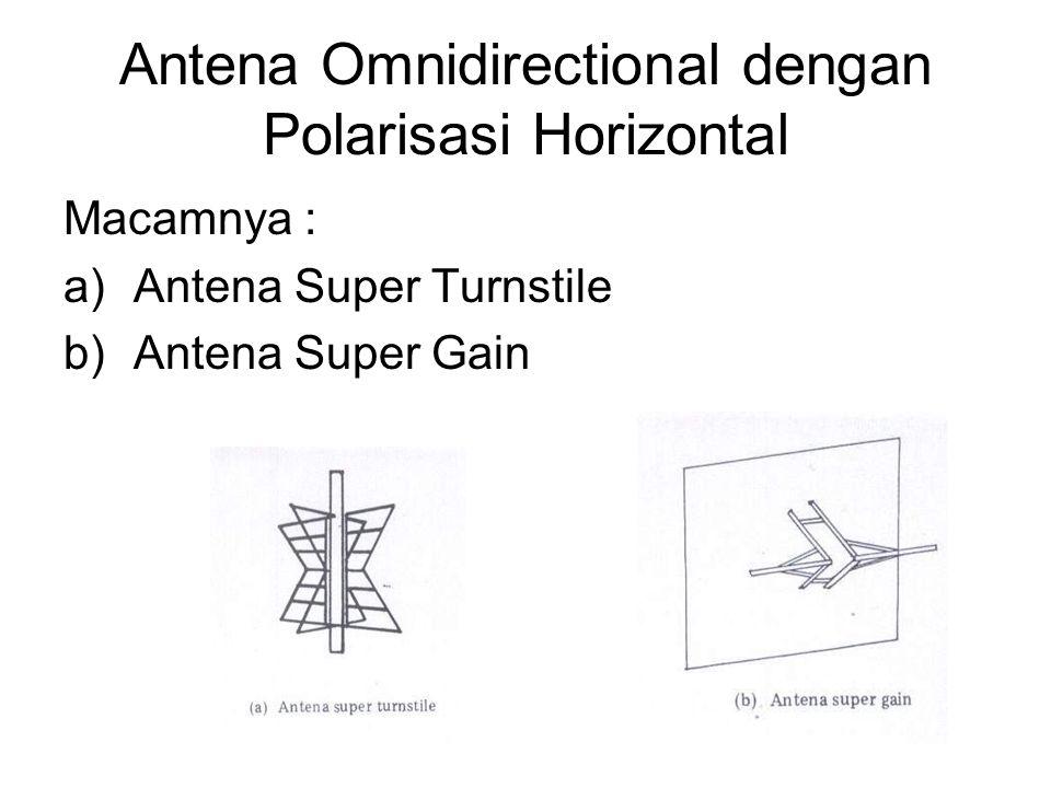 Antena Omnidirectional dengan Polarisasi Horizontal Macamnya : a)Antena Super Turnstile b)Antena Super Gain
