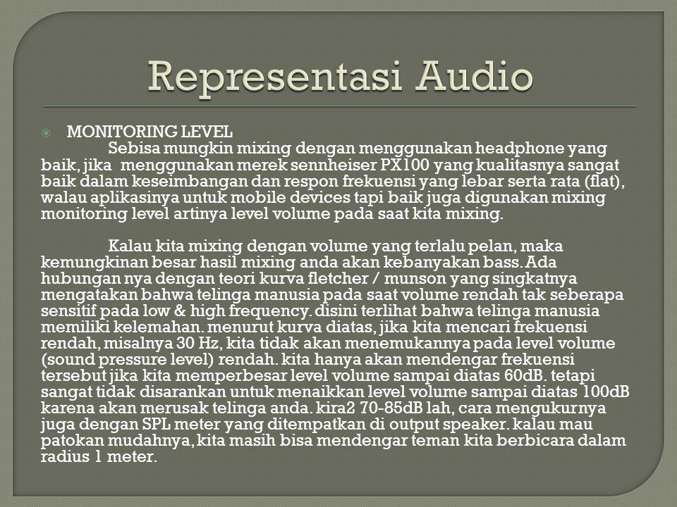  MONITORING LEVEL Sebisa mungkin mixing dengan menggunakan headphone yang baik, jika menggunakan merek sennheiser PX100 yang kualitasnya sangat baik dalam keseimbangan dan respon frekuensi yang lebar serta rata (flat), walau aplikasinya untuk mobile devices tapi baik juga digunakan mixing monitoring level artinya level volume pada saat kita mixing.