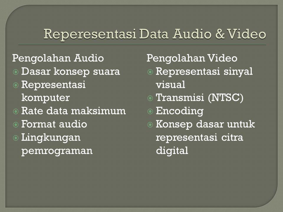 Pengolahan Audio  Dasar konsep suara  Representasi komputer  Rate data maksimum  Format audio  Lingkungan pemrograman Pengolahan Video  Representasi sinyal visual  Transmisi (NTSC)  Encoding  Konsep dasar untuk representasi citra digital